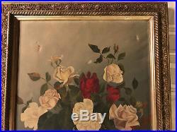 Victorian antique rose flower floral hand painted original oil PAINTING Vintage