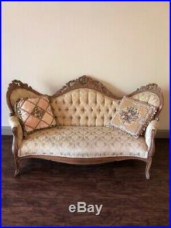 Victorian antique sofa and settee beautiful golden color all hand carved wood
