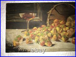 Victorian antique strawberry hand painted original oil PAINTING Vintage food