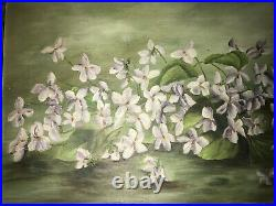 Victorian antique violet floral hand painted original oil PAINTING yard long