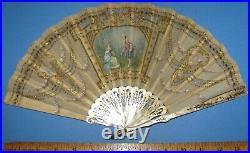 Victorian folding hand fan, MOP Sticks, Hand Painted, & 10kt gold plated loop