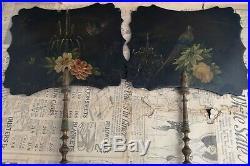 Victorian papier mache face screens, antique hand fans