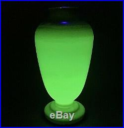 Victorian uranium glass opaque vase Antique pedestal hand painted enameled 14