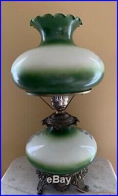 Vintage 3-way Electric Gone With The Wind Green Hand Painted Parlor Lamp