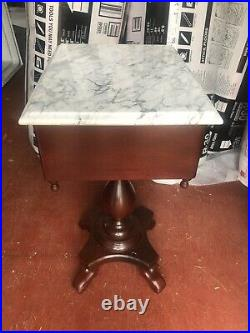Vintage Antique 2 Hand Carved Victorian Italian Marble End Tables