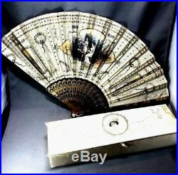 Vintage/Antique French Decorated Hand Fan Accessory In Original Box