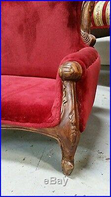 Vintage/Antique Hand Carved Victorian Toddler/Childs Sofa Furniture