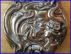 Vintage Antique Victorian Art Nouveau Silver Plate Hand Mirror Woman and Lilies