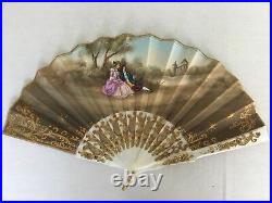 Vintage Antique Victorian French Double Sided Hand Painted Signed Hand Fan