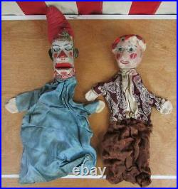 Vintage Antique Wooden Hand Carved Puppets 10 early 1900s Folk Art Punch & Judy