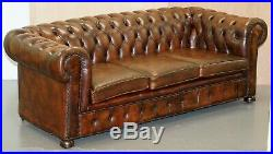 Vintage Art Deco 1920's Brown Leather Hand Dyed Coil Sprung Chesterfield Sofa