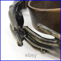 Vintage Belt Brass Metal Woman's Clasping Hands Victorian Style Buckle