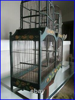 Vintage Bird Cage Hand Painted Wood Victorian Double Dome Cathedral Wooden House