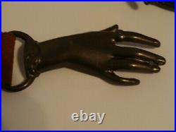Vintage Brass Metal Woman's Clasping Hands Victorian Style Buckle With Belt