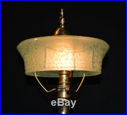 Vintage Chinese Qing Dynasty bronze brass dragon lamp Victorian hand-made shade