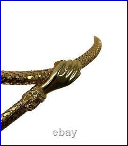 Vintage DL AULD Mesh Belt- Clasping Hands Victorian Style Gold Tone -36 Adjusts