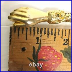 Vintage DL Auld Mesh Belt Clasping Hands Victorian Style Gold Tone 36 Adjusts