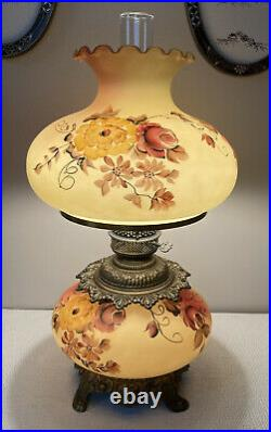 Vintage GWTW Hurricane Lamp Hand Painted Flowers 3-Way switch 25H