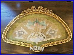 Vintage Gold Framed Lace Folding Hand Fan Victorian Hand Painted signed 16x23