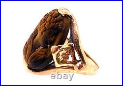 Vintage Hand Carved Tigers Eye Cameo Cocktail Ring 14K Antique Victorian