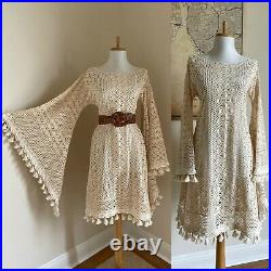 Vintage Hand Knit Crochet Lace Bell Sleeve Wedding Dress with Fringe Photo Shoot