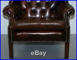 Vintage Hand Made In England Chesterfield Leather Wingback Armchair & Footstool