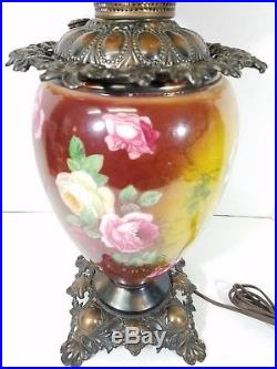 Vintage Hand Painted Gone With The Wind Oil Lamp Victorian Roses Parlor Antique
