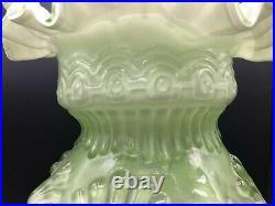Vintage Large Hand Blown Art Glass Victorian Green & White Ruffled Vase, 12 T