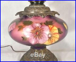 Vintage MID Century Victorian Gwtw Hand Painted Lamp And Matching Shade