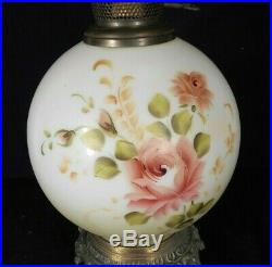 Vintage MID Century Victorian Style Gwtw Hand Painted Milk Glass Lamp