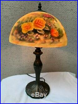 Vintage Reverse Hand Painted Lamp with Glass Shade and Bronze Base 20 Tall