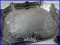 Vintage Serving Tray Silver Plated Pierced Hand Etched Gallery Tray Persian