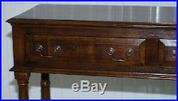 Vintage Solid English Oak Sideboard With Drawers Hand Made England Pillared Legs