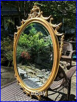 Vintage Stroupe Co Thomasville Hand-carved Victorian Rococo Giltwood Wall Mirror