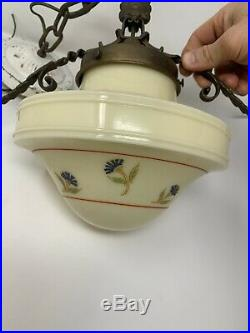 Vintage Victorian Art Deco Ceiling Light Art Deco Shade Hand Painted