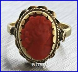 Vintage Victorian Estate Hand Carved Red Coral Cameo Ring 3g