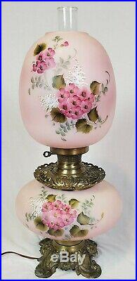 Vintage Victorian Hand Painted Floral Parlor Banquet GWTW Table Lamp Repro