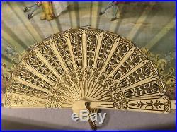Vintage Victorian Lace Folding Ladies Hand Opera Fan Elegant Gold Guilt Framed