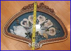 Vintage Victorian Ladies Hand Fan Framed in Custom Shadow Box, Hand Painted