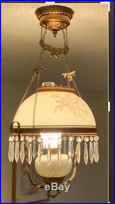 Vintage Victorian Oil Hanging Lamp Hand Painted Electrified Vintage Chandelier