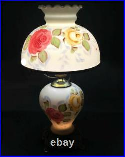 Vintage glass lamp. Victorian. Hand painted shade and base. Light-up base