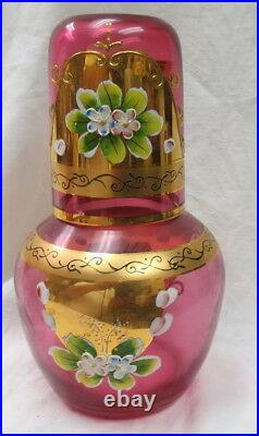 Vintage unmarked Moser art glass Tumble-up decanter & tumbler hand painted gold
