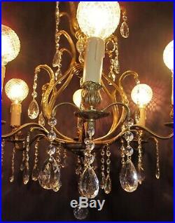 Vtg Deco Era Victorian French / Sweden Brass Chandelier Fixture Hand Crystals