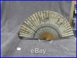 Vtg Victorian French Fold Out Hand Fan Hand Painted Silk 3 Scenes Ornate Cut
