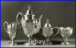 Whiting Sterling Tea Set c1920 HAND DECORATED